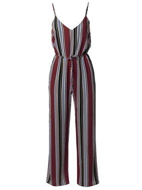 FashionOutfit Women's Casual Stripe Printed Wide Leg Camisole Jumpsuit Romper