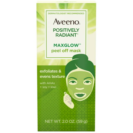 - 2 Pack - AVEENO Positively Radiant MaxGlow Peel Off Exfoliating Face Mask with Alpha Hydroxy Acids, Moisture Rich Soy &