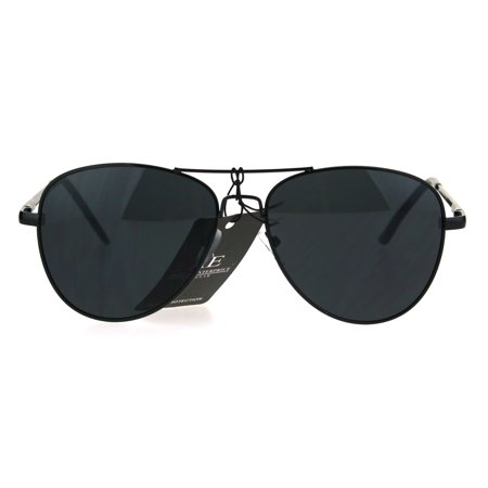 Mens All Black Classic Driver Metal Rim Police Style Pilot (Pilot Sunglasses)