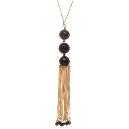 Women's Round Bead with Chain Tassel Dangling Pendant with 30