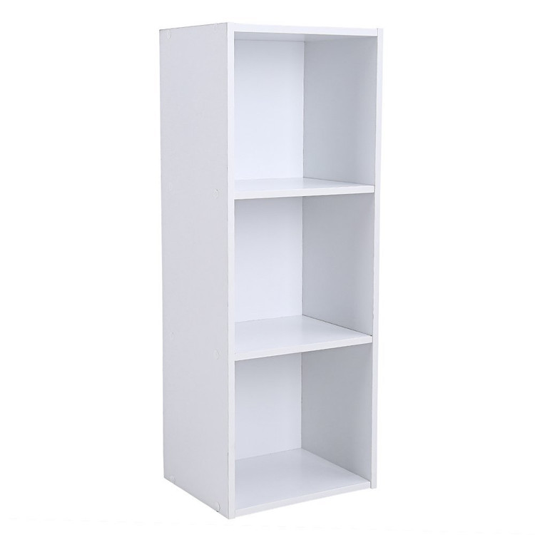 WALFRONT 3 Tier Open Bookcase Wood Storage Bookshelf Display Shelf DIY  Closet Organization Stand Rack Cube Shelving Unit (9.3 X 11.8 X 31.4  Inches, ...