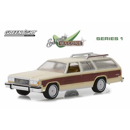 1985 Ford LTD Country Squire with Roof Rack and Wood Paneling, Cream - Greenlight 29910F/48 - 1/64 Scale Diecast Model Toy Car (Country Squire 87 Auto Car)