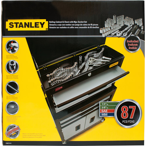Stanley 85-Piece Mechanics Tool Set and Rolling Toolbox