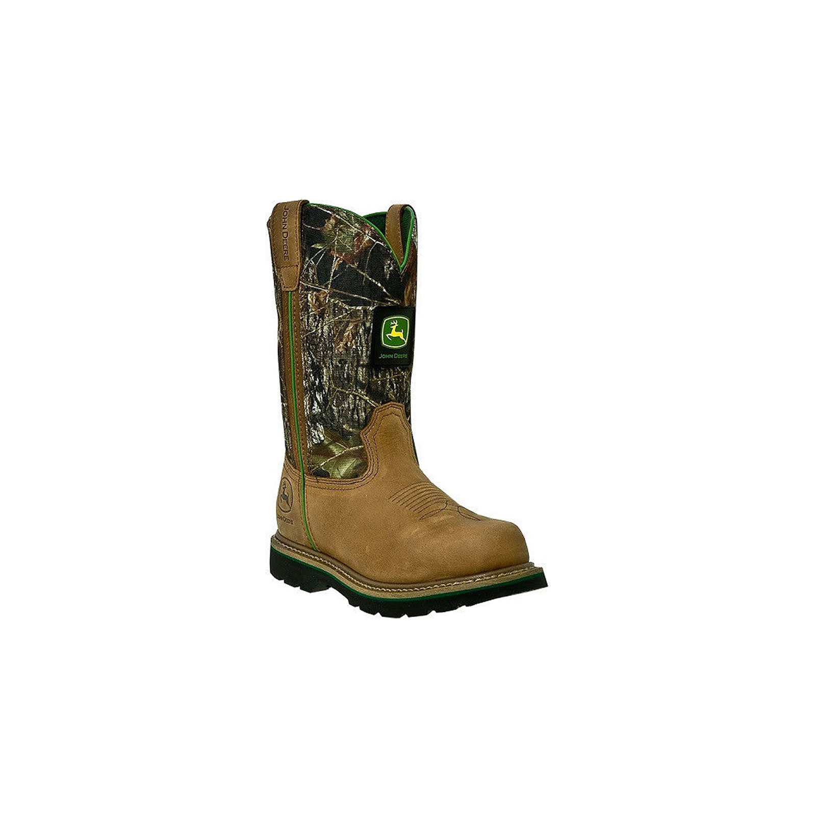 John Deere Men's Wellington Tan and MO with Green Steel Toe Work Boots JD4348 by John Deere