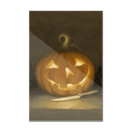 Jack-O-Lantern - Halloween Oil Painting - Lantern Press Artwork (8x12 Acrylic Wall Art Gallery Quality)