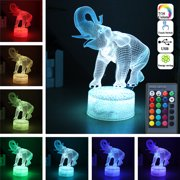 3D LED Elephant Night Light Lamp 16-Colors Changing with Touch Switch Remote Control Table Desk Lamp for Bedroom Home Decor Birthday Christmas Gift