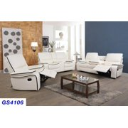 Ainehome 3PC Recliner Sofa for Living Room Set, Faux Leather Reclining Sofa Set Manual Recliner Motion Home Furniture(White)