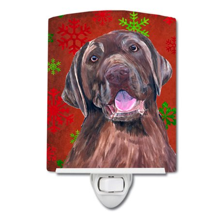 Labrador Red and Green Snowflakes Holiday Christmas Ceramic Night Light SC9424CNL ()