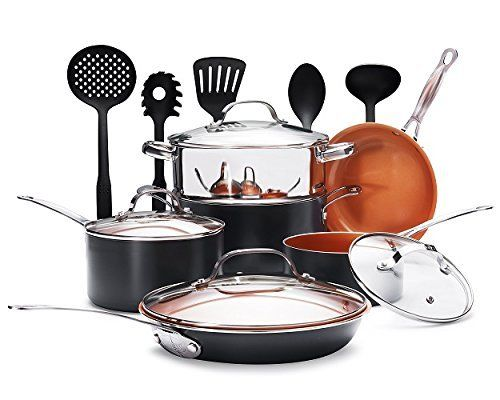 Gotham Steel 15-Piece Nonstick Copper Complete Cookware Set with Utensils by E Mishan and Sons Inc