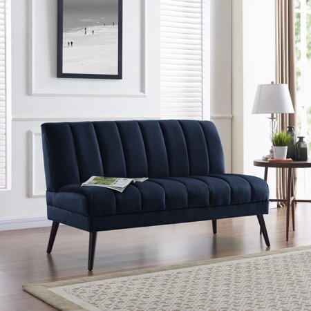 Sensational Carson Carrington Abytorp Navy Blue Velvet Armless Loveseat Inzonedesignstudio Interior Chair Design Inzonedesignstudiocom
