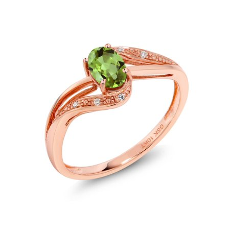 10K Rose Gold 0.54 Ct Green Peridot and Diamond Engagement Ring - Glow In The Dark Engagement Ring