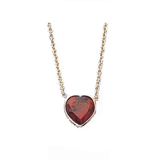 14k Gold Heart-Shape Garnet Solitaire Bezel Necklace (1.0.ct.tw) by HSGN103