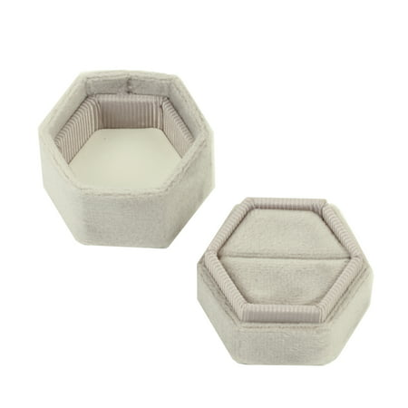 DIY Wedding Koyal Wholesale Velvet Ring Box, Light Gray, Hexagon Vintage Wedding Ceremony Ring Box with Detachable Lid, 2 Piece Engagement Ring Box Holder, Modern Proposal Idea, Slim Ring Box Display - Different Wedding Ideas