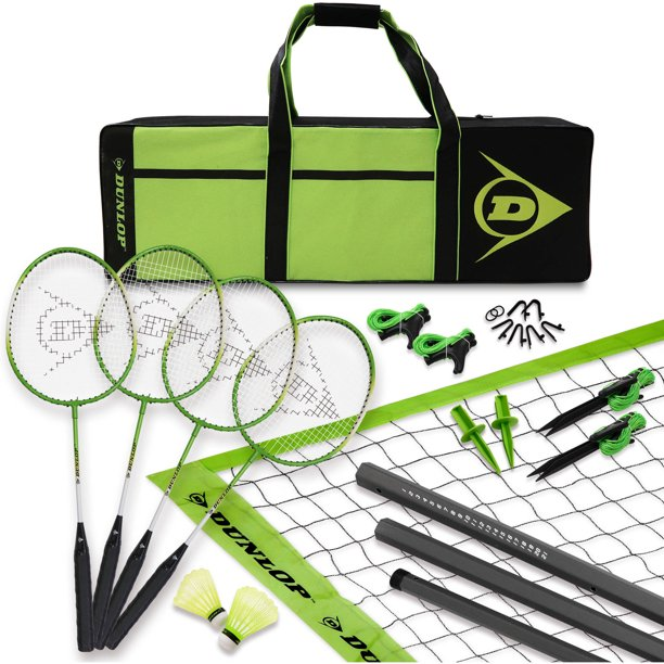Dunlop Advanced Badminton Set, Accessories Included, Lawn Game, Green/Black