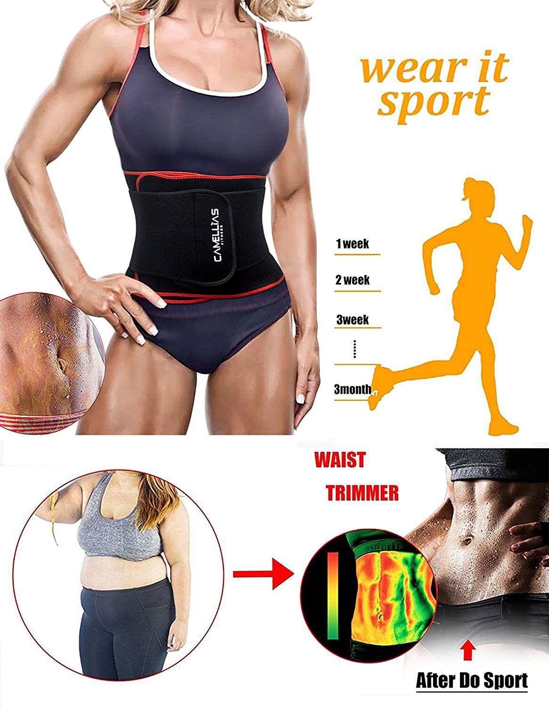cc2e8c5cc9 Camellias Women Sports Waist Trimmer Slimming Trainer Belt Neoprene Sauna  Sweat Belly Band Gym Weight Loss