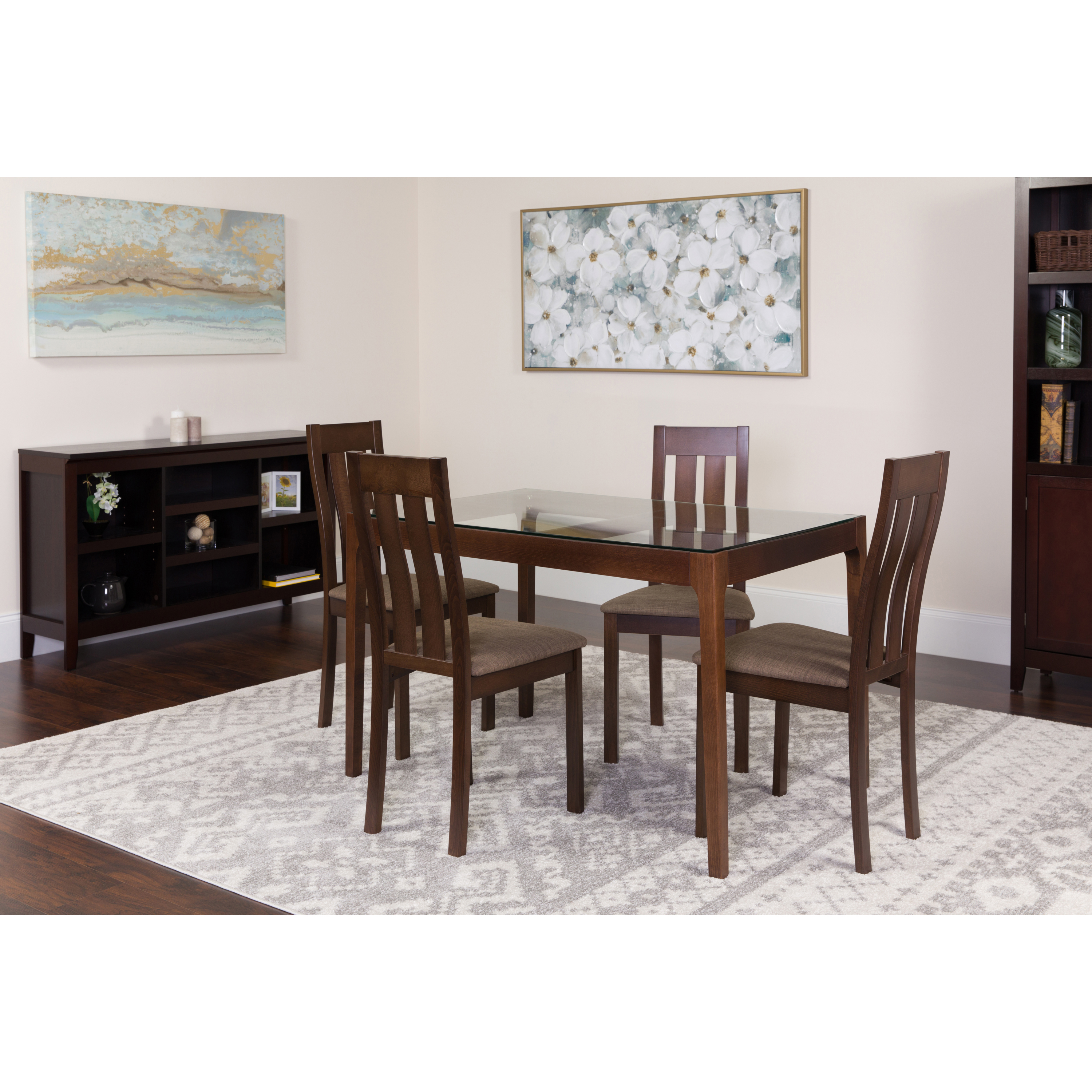 Standard Furniture Cosmo 5 Piece Round Coffee Table Set W: Flash Furniture Belvedere 5 Piece Espresso Wood Dining