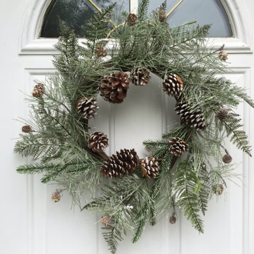 The Holiday Aisle Flocked Artificial Pine Cones Wispy Frosted Fern Winter Wreath