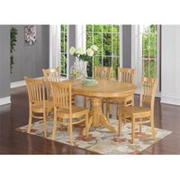 East West Furniture AVGR7-OAK-W 7 Piece Formal Dining Room Set-Oval Dinette Table With Leaf and 6 Dining Chairs