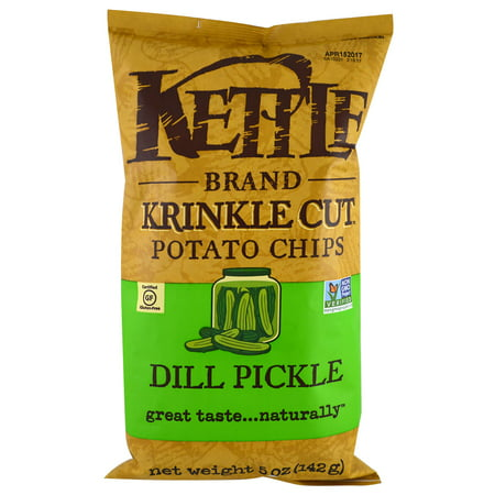 Kettle Foods, Krinkle Cut Potato Chips, Dill Pickle, 5 oz (pack of