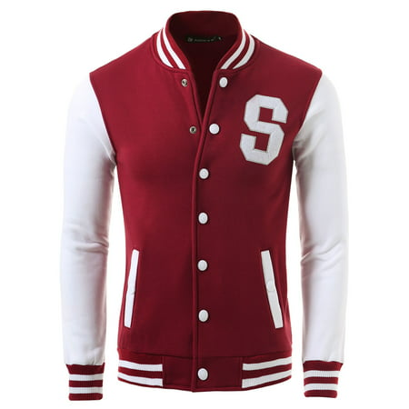 Unique Bargains Men's Long Sleeves Letter Pattern Button Front Varsity Jacket (Mens Jacket Patterns)