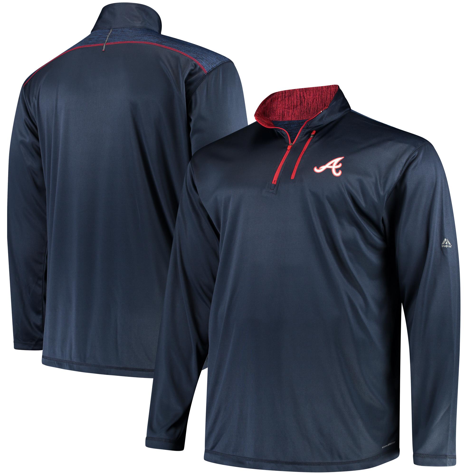 Atlanta Braves Majestic Big & Tall 643 Half-Zip Pullover Jacket - Navy