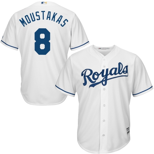 Men's Majestic Mike Moustakas White Kansas City Royals Cool Base Player Jersey by MAJESTIC LSG