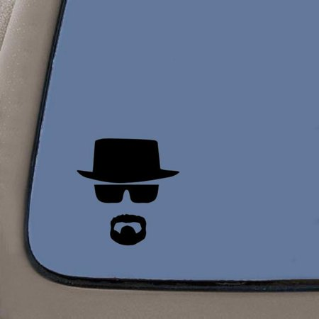 Breaking Bad Heisenberg Face Vinyl Decal | 5.5 Inches Tall | Black Vinyl Decal | Car Truck Van SUV Laptop Macbook Wall