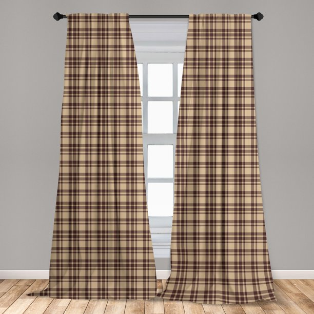 Tan And Brown Curtains 2 Panels Set, Tan And Brown Curtains