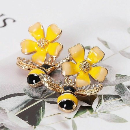 KABOER 1 Pair Enamel Yellow Flower Bee Insect Drop Studs Earrings Charming And -