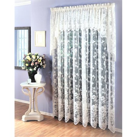 August Grove Hook Traditional Elegance Floral Vine Sheer Jacquard Lace Tailored Window Curtain Panel (60W x 63L) - White