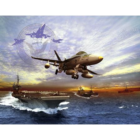 FA-18 Hornet taking off of a US Navy aircraft carrier Canvas Art - Kurt MillerStocktrek Images (32 x 25)