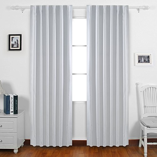 grey and white blackout curtains double layer deconovo back tab and rod pocket curtains blackout thermal insulated drapes room darkening