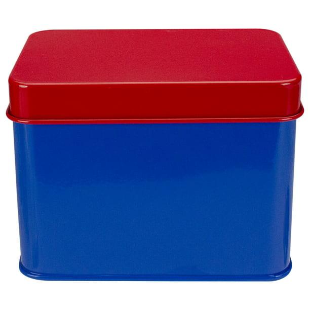 6 5 Red And Blue Tin Recipe Box Walmart Com Walmart Com