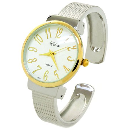 2Tone Mesh Style Band Large Dial Easy to Read Women's Bangle Cuff Watch ()