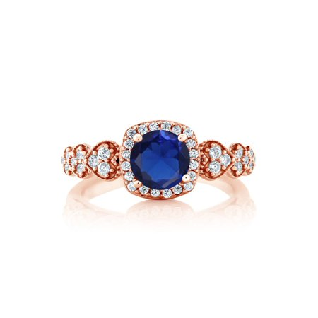 1.07 Ct Round Blue Simulated Sapphire 18K Rose Gold Plated Silver Ring - image 1 de 4