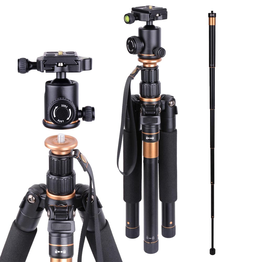 Aluminium Tripod Monopod w/ Ball Head For DSLR Camera Travel Professional Photo Video Studio