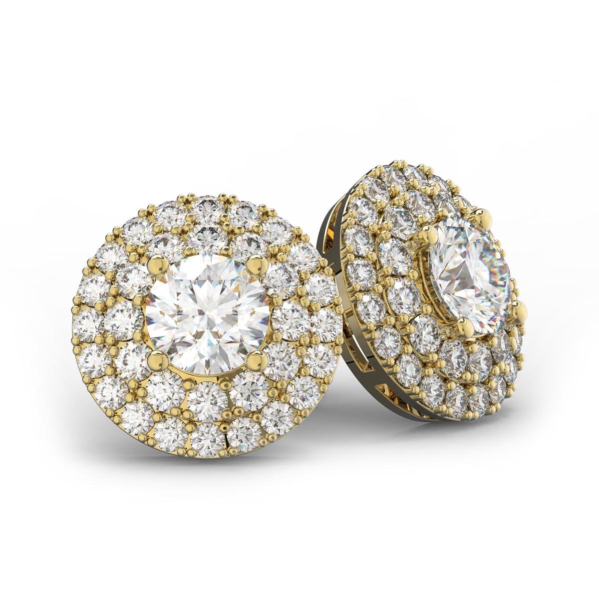 14K Yellow Gold 3 Carat Diamond Halo Stud Earrings