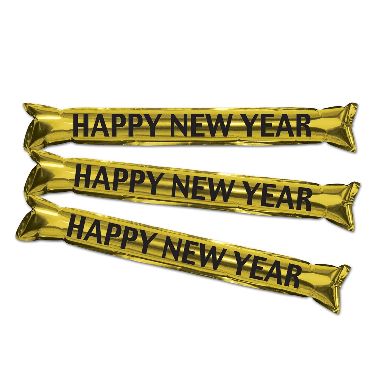 "Club Pack of 24 Gold and Black New Year's Eve Inflatable ""Make Some Noise"" Party Sticks 22"""