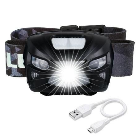 USB LED Headlamp Rechargeable headlamp Flashlight Sensor - Waterproof & Comfortable - Headlamps for Running, Walking, Camping, Reading, Hiking, Kids, DIY & More, USB Cable Included, - Kids Headlamp