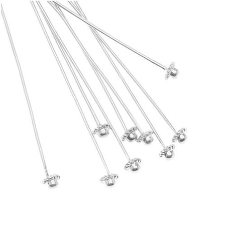 Beadalon Silver Plated Coil Dome Head Pins - 21 Gauge - 2 Inches (10)