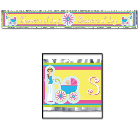 """Club Pack of 12 Multi-Colored """"Showers of Joy"""" Baby Shower Fringe Banners 5'"""