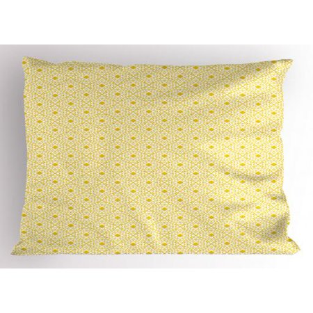 Art Deco Pillow Sham Four-leaf Clover Inspired Grunge Brick Printed Texture of Symmetric Motif, Decorative Standard King Size Printed Pillowcase, 36 X 20 Inches, Yellow and White, by