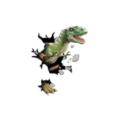 4 Walls Unique Peel and Stick Tyrannosaurus Rex Through Wall Decal