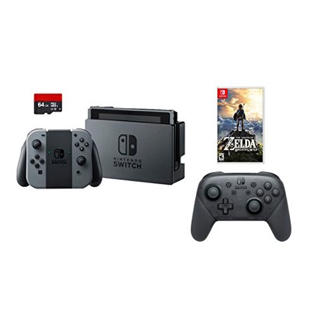 Nintendo Swtich 4 Items Bundle Nintendo Switch 32Gb Console Gray Joy Con 64Gb Micro Sd Memory Card And An Extra Nintendo Switch Pro Wireless Controller The Legend Of Zelda