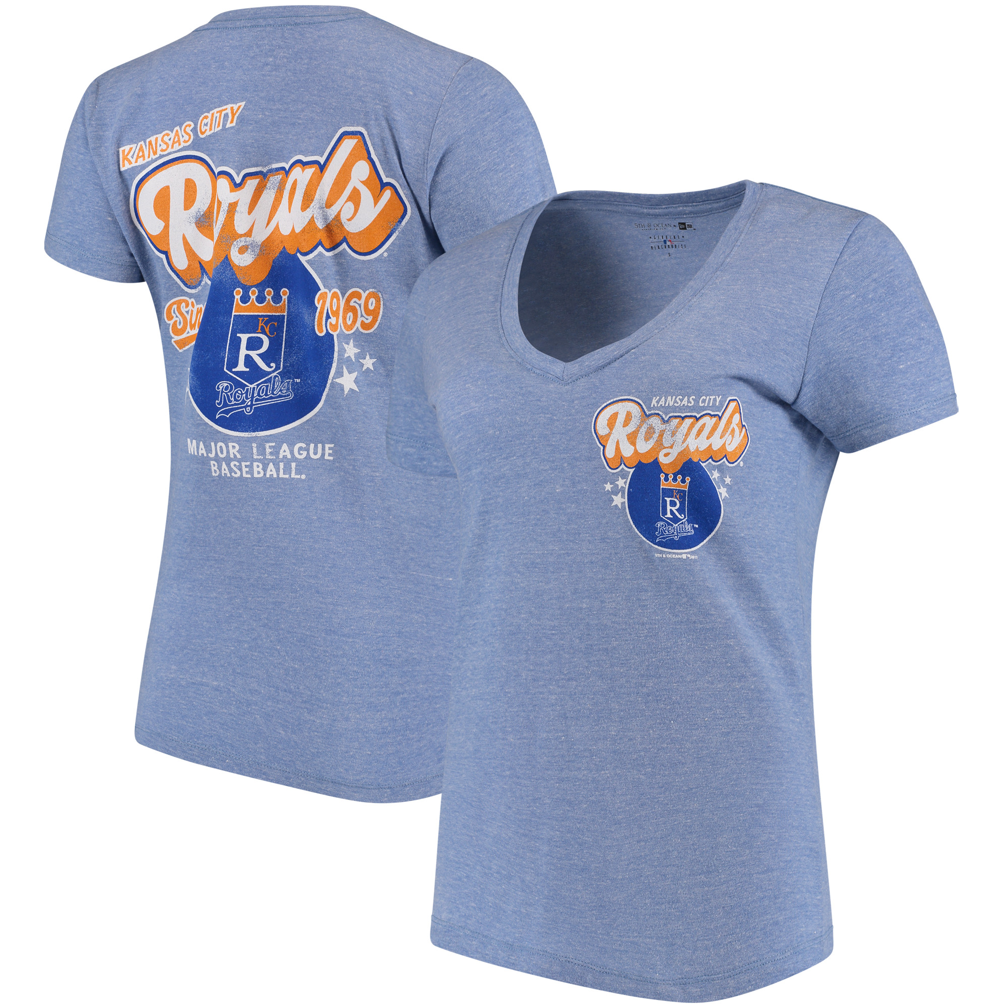 Kansas City Royals 5th & Ocean by New Era Women's Cooperstown Collection Tri-Blend V-Neck T-Shirt - Heathered Light Blue