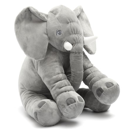 Stuffed Animal Soft Cushion Baby Sleeping Soft Pillow Elephant Plush Cute Toy for Kids Birthday Christmas Gift - Grey