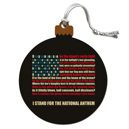 I Stand USA National Anthem Star-Spangled Banner American Flag Patriotic Wood Christmas Tree Holiday Ornament (Patriotic Christmas Ornaments)