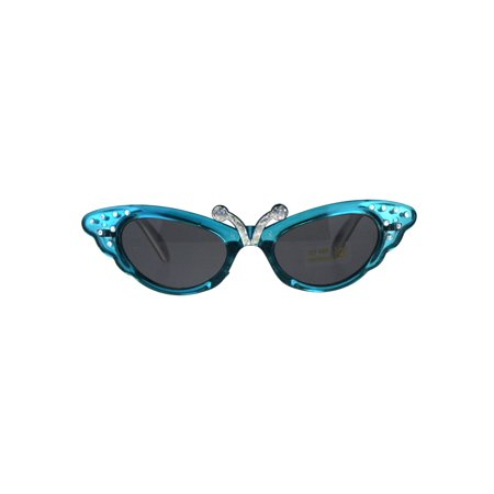 Cheap Fun Sunglasses (Kids Girls Glitter Butterfly Plastic Fun Sunglasses Teal)