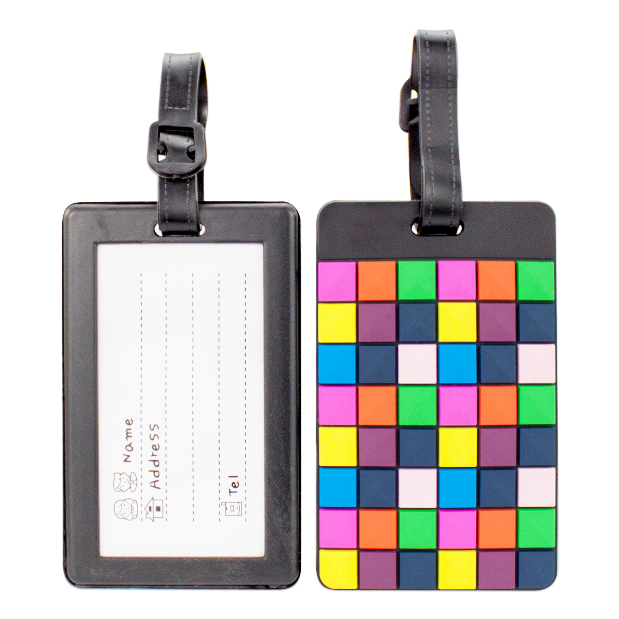 Miami CarryOn Colorful Luggage Tags/Card Holder/Bag Tags/ID Tags - 2 Set (Disco Floor)