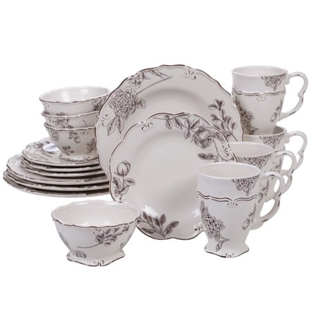 - Certified International  Vintage Cream with Floral 16-piece Dinnerware Set, Service for 4